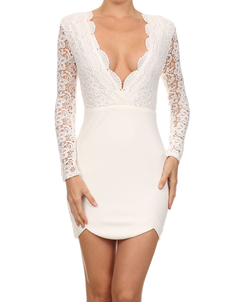 Elegant Cocktail Deep V White Dress