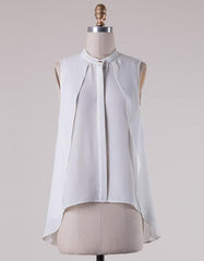 Elegant Sleeveless Layered Cut White Top