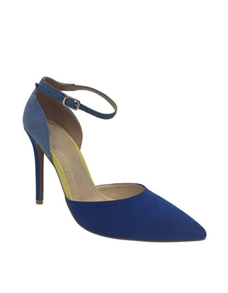 Elegant Two Shades Blue Pointy Heels
