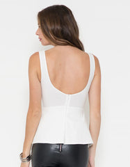 Elegant White Peplum Top