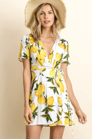 Summer Lemon Print Tie-Up White Wrap Dress