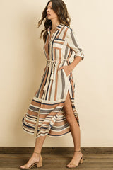 Elegant Beige Midi Striped Multi-Color Shirt Dress