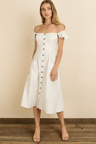 Fashion Summer Off Shoulder Button Down Off White Dress