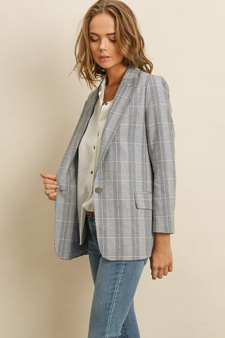 Fashion Grey Blue Checkered Blazer Jacket