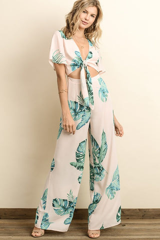 Elegant Front Tie-Up Cut Out Tropical Print Blush Jumpsuit