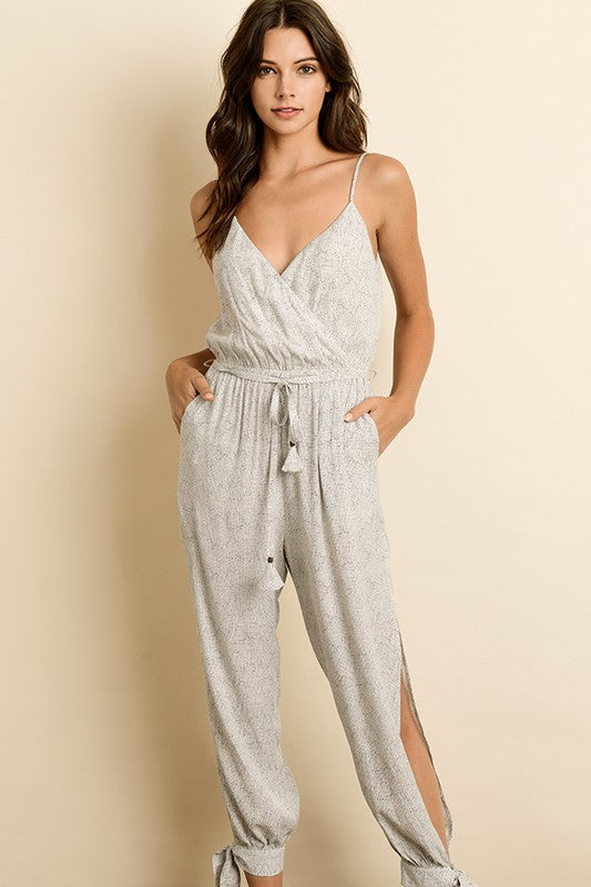 Fashion Strap Tie-Up Split Leg Multi-Color Jumpsuit