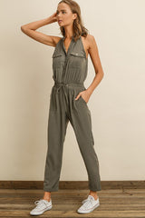 Fashion Sage Sleeveless Button Down Jumpsuit