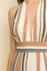 Fashion Beige Stripe Halter Cropped Jumpsuit