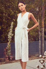 Fashion Summer Ivory Wrap Tie-Up Cropped Jumpsuit