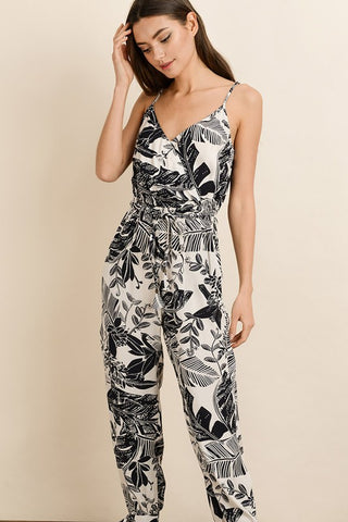 Fashion Strap Tie-Up Split Leg Cream Contrast Floral Print Jumpsuit