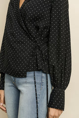 Fashion Black Polka Dot Wrap Tie-Up Blouse