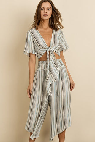 Fashion Light Blue Stripe Multi-Color Wide Leg Pants