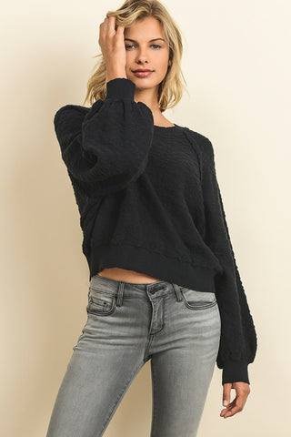 Fashion Puffy Sleeve Black Sweater