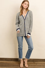 Elegant Fashion Grey Navy Cardigan