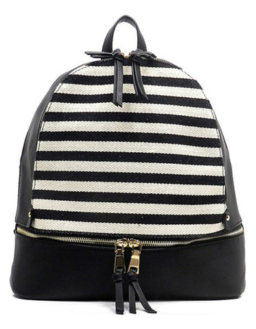 Fashion Elegant Black Backpack with Striped Patterns