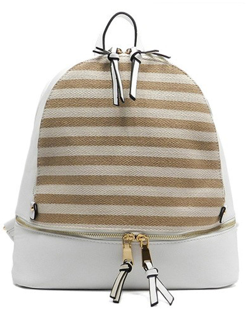 Fashion Elegant White Backpack with Striped Patterns