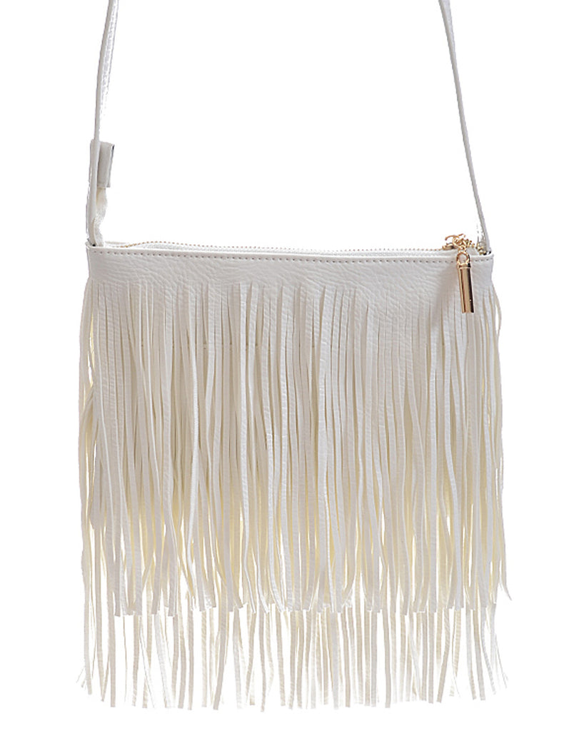 Fashion Fringe Mini Handbag White