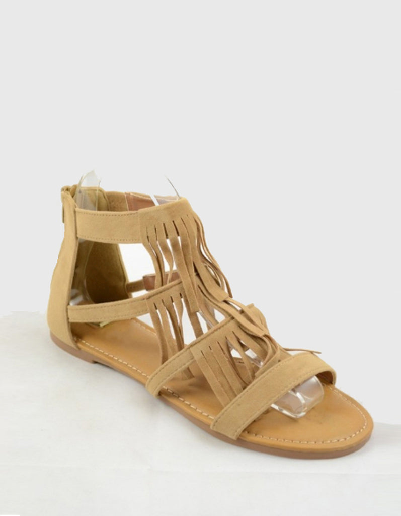 Fashion Layer Beige Fringe Suede Flat