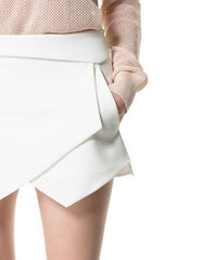 Fashion White Asymmetrical Shape shorts