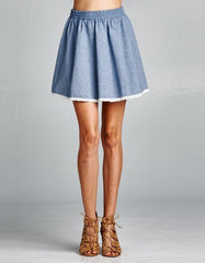 Flared Blue Skirt with Lace Trim Hem