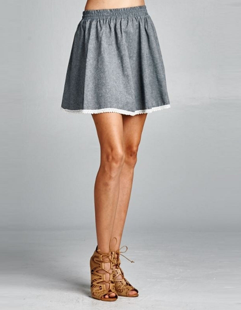 Flared Grey Skirt with Lace Trim Hem