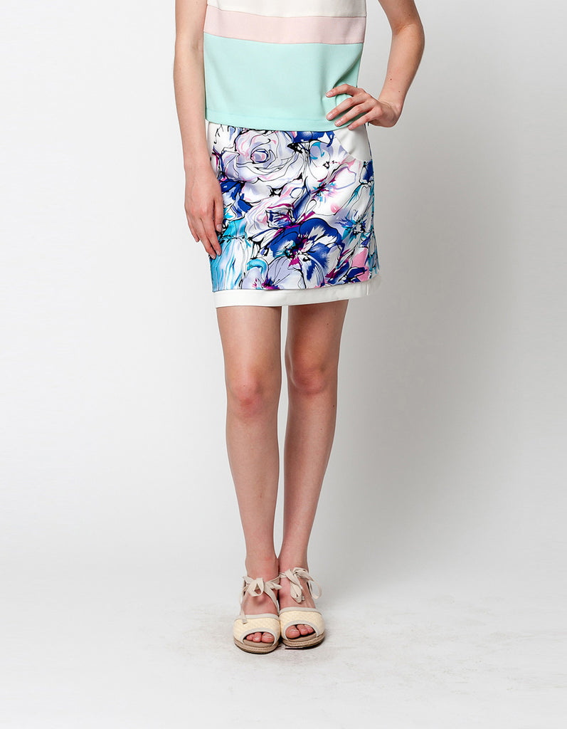 Floral Multi-Color Print Skirts
