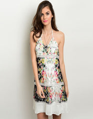 Floral Textured Pleated Bottom Summer Dress