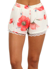 Flower Print Shorts with Lace Trim