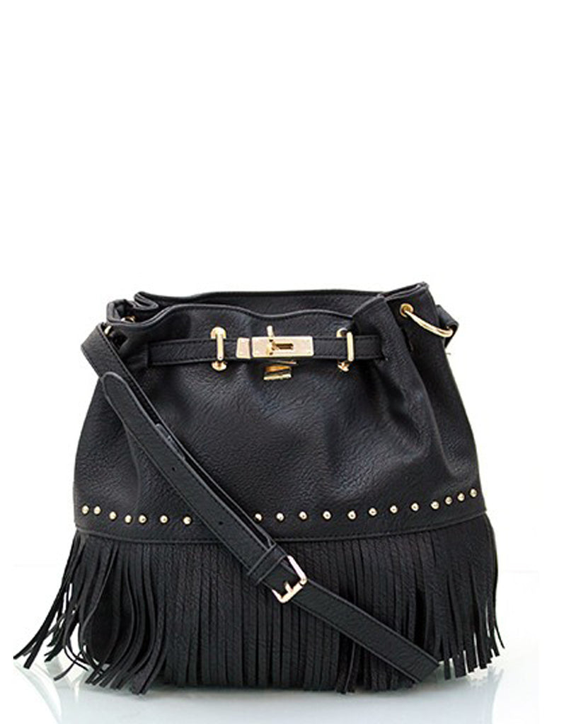 Fringe Black Gold Bucket Bag