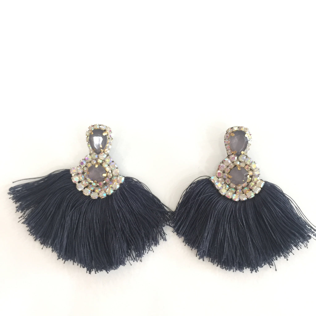 Fashion Grey Tassel Designer Fringe Grey Crystal Earrings