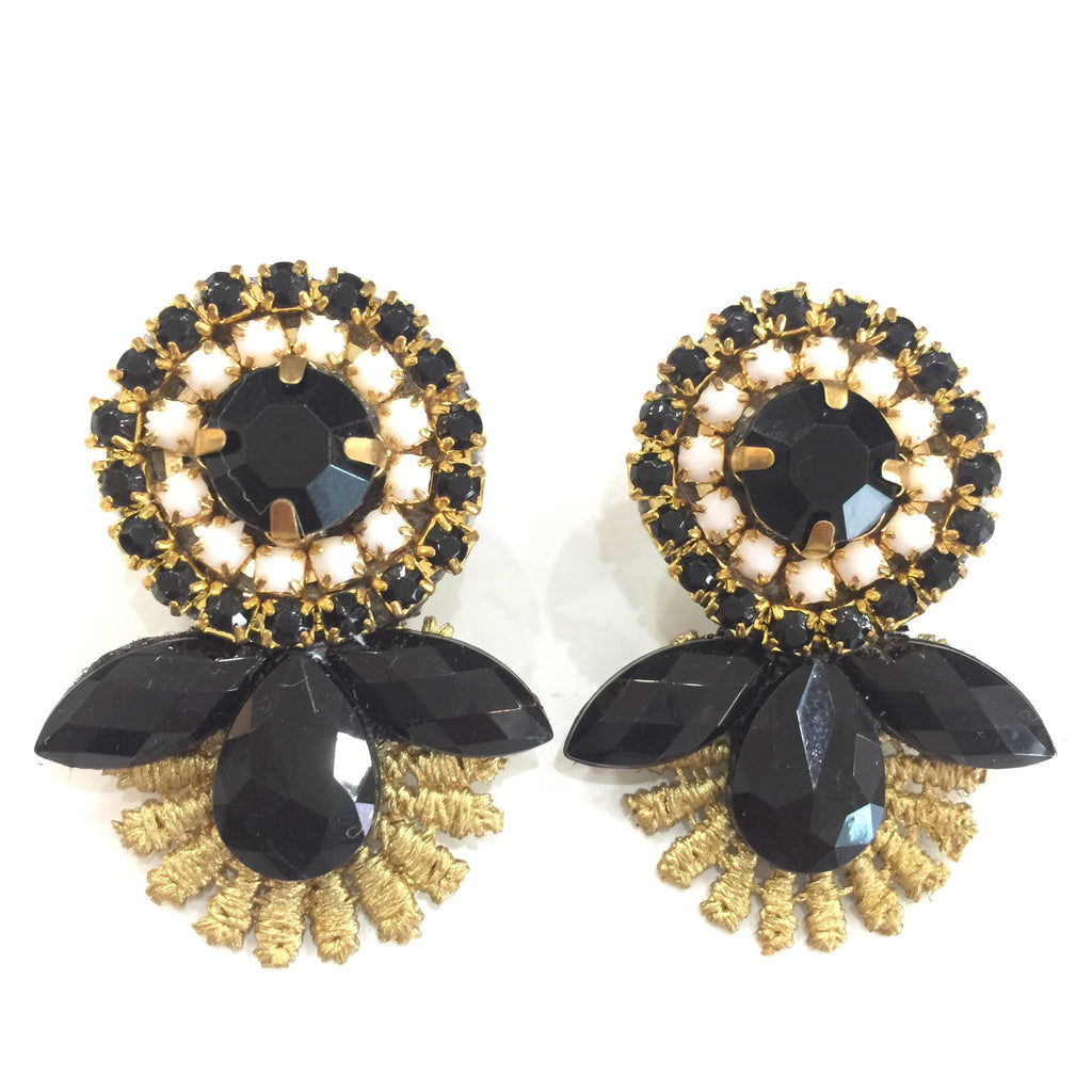 Fashion Designer Black Crystal Gold Lace Earrings