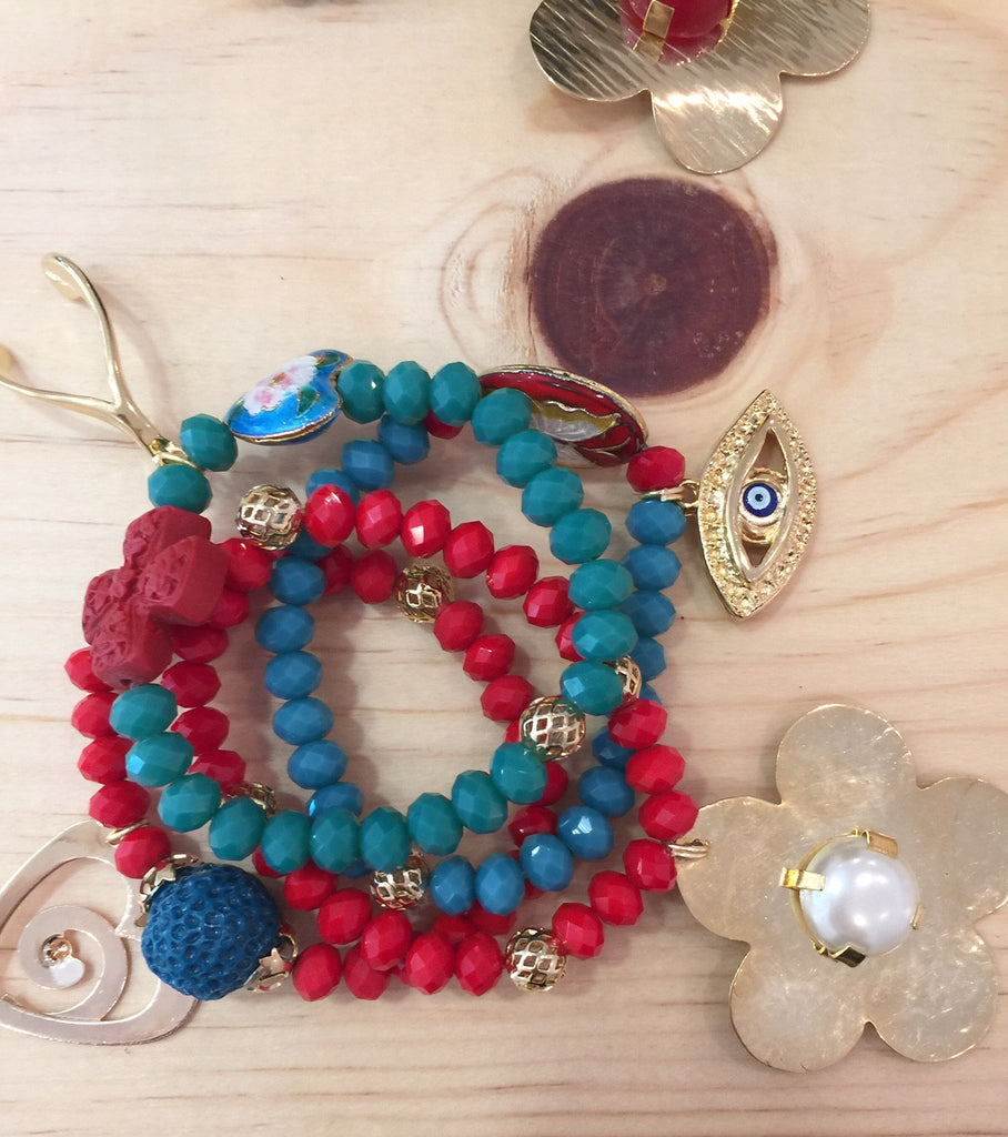 #069 Bracelets Crystal Multi-Color Set
