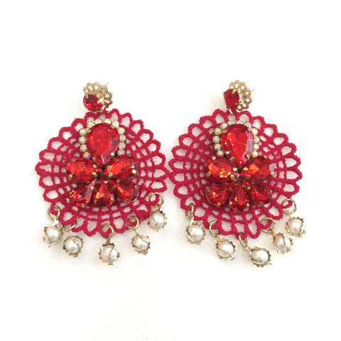 Fashion Designer Red Crystal Red Lace Earrings