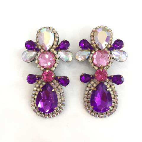 Fashion Designer Purple and Pink Crystal Earrings