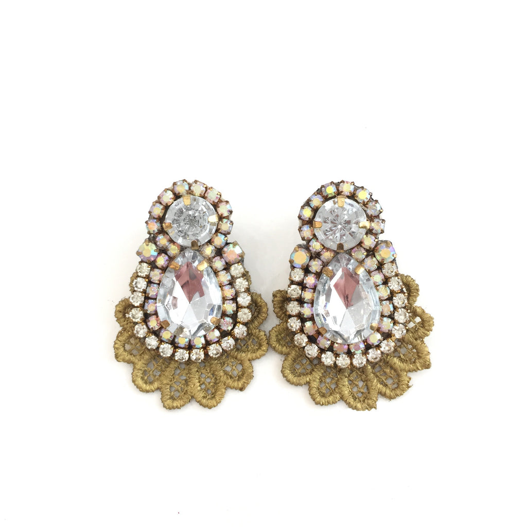 Fashion Designer Silver Crystal Gold Lace Earrings
