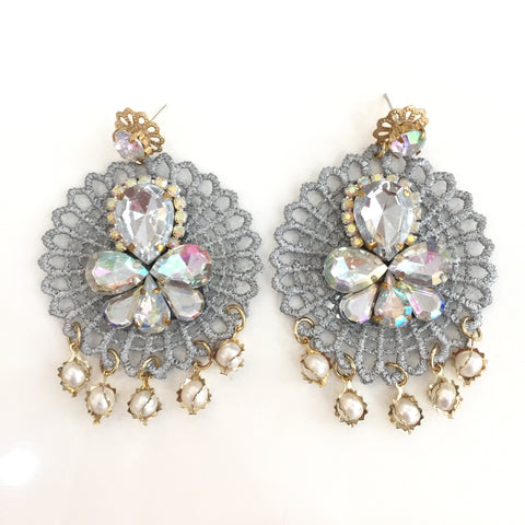 Fashion Designer Silver Crystal Grey Lace Earrings