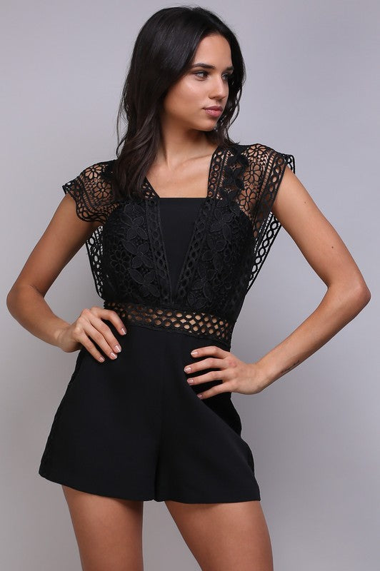 Elegant Black Lace Romper with Band Sleeve Detailed