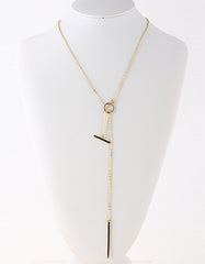 Gold and Rhinestone Bar Necklace