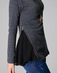 Grey Knitted Sweater With Side Zipper