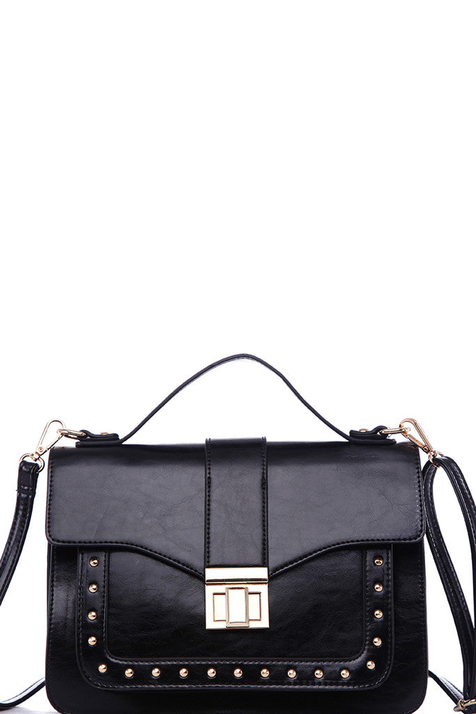 Fashion Black Structured Satchel Crossbody Bag