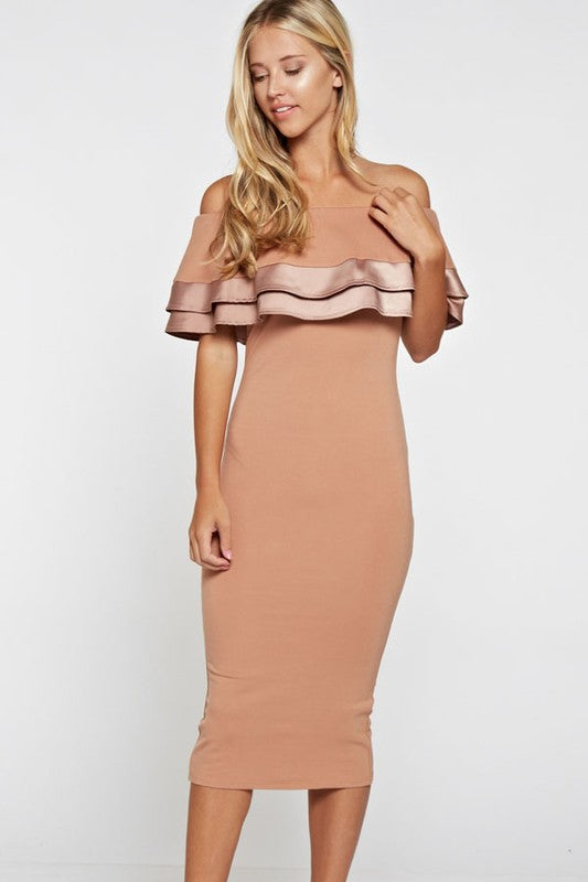 Elegant Off Shoulder Beige Ruffle Dress