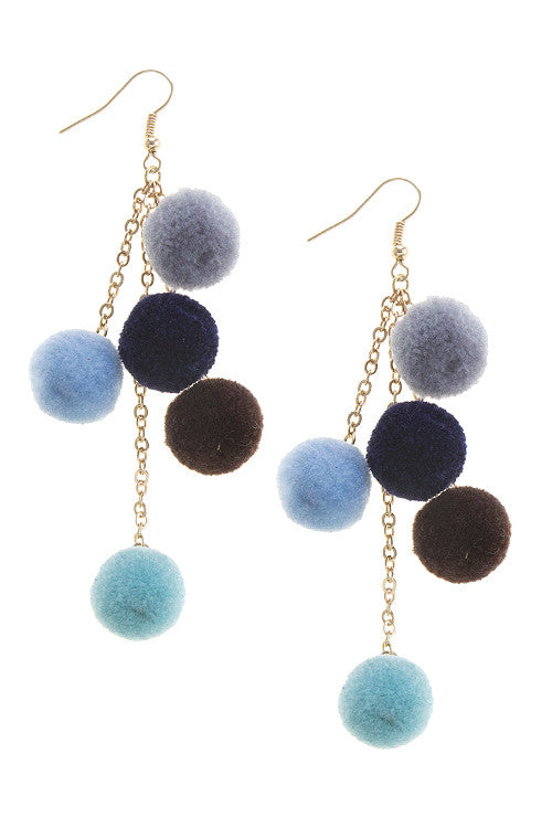 Fashion Mini Blue Pom Pom Earrings