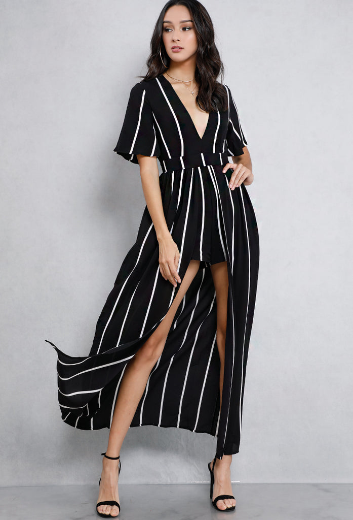 ddce6e59cdd9a Elegant White Stripe Open Back Black Maxi Romper – EDITE MODE