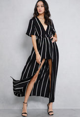 Elegant White Stripe Open Back Black Maxi Romper