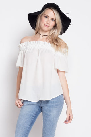 Fashion Summer Casual Off Shoulder White Top