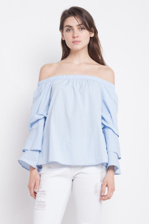 4da05209a764f Fashion Off Shoulder Ruffle Blue Top with Bell Sleeve – EDITE MODE