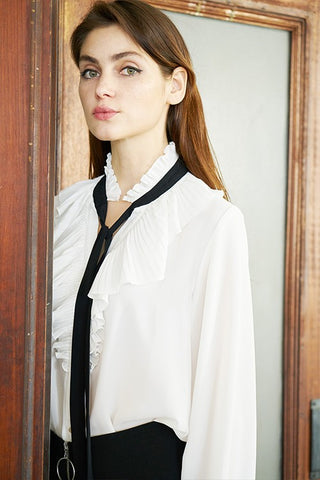 Elegant Ruffle Black Bow Detailed White Long Sleeve Blouse