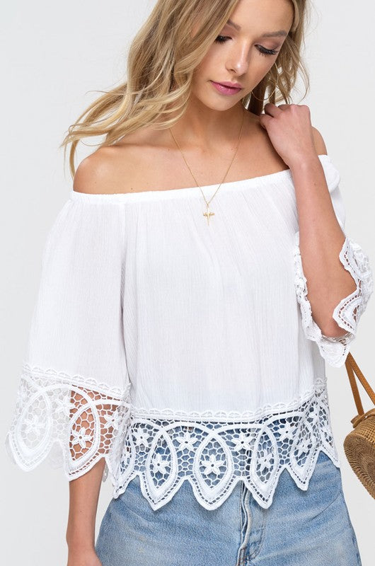 6ced72e3741 Elegant Off Shoulder White Lace Top with Bell Sleeve – EDITE MODE