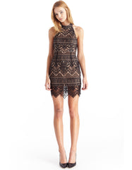 Halter Cocktail Lace Black Dress