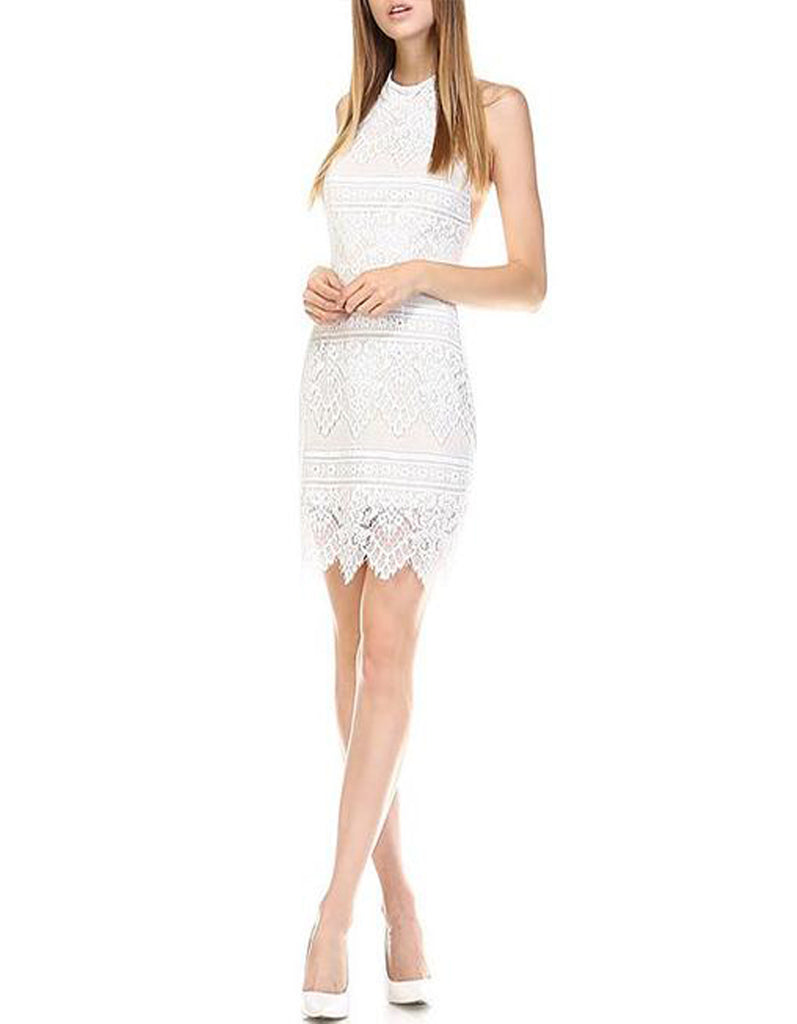 Halter Cocktail Lace White Dress